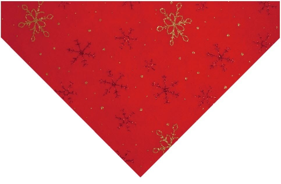 Glitter Snowflake Felt Red With Red And Gold 23cm x 30cm