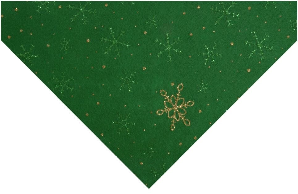 Glitter Snowflake Felt Green With Gold and Green 23cm x 30cm