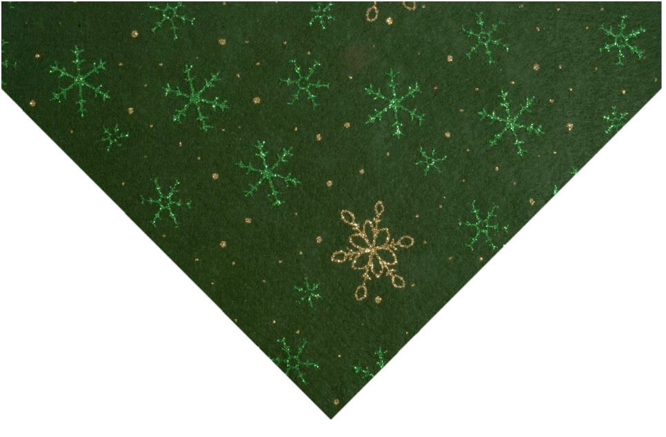 Glitter Snowflake Felt Forest Green With Green and Gold 23cm x 30cm