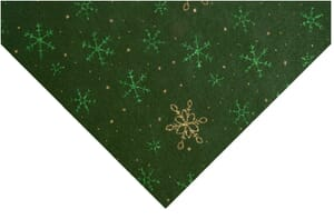 Small Image of Glitter Snowflake Felt Forest Green With Green and Gold 23cm x 30cm