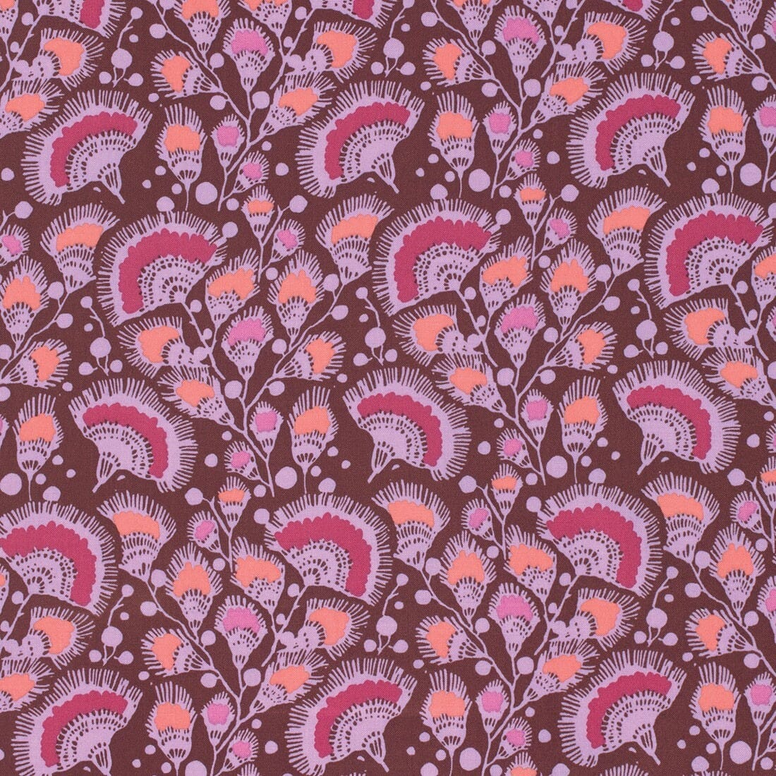 Amy Butler Bright Heart Passionate Plum Feather Fans Cotton Fabric