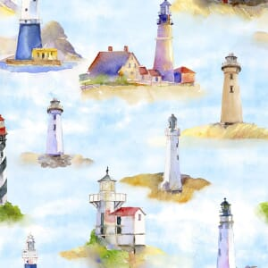 3 Wishes Fabric At The Shore Lighthouses Blue