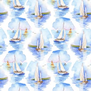 3 Wishes Fabric At The Shore Sailing Blue