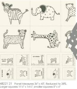 Small Image of Moda Fabric Savannah Little Critter Fabric Panel Black