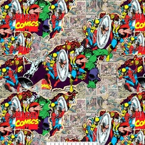 Marvel Characters Group Collage Quilting Fabric