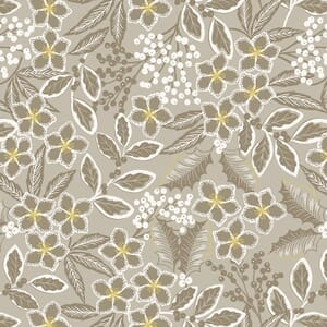 Lewis and Irene Noel Floral Natural With Gold Metallic C66.1