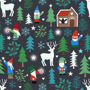 Lewis and Irene Hygge Glow in The Dark Tomten Forest Charcoal C71.3