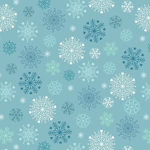 Lewis and Irene Hygge Glow in The Dark Snowflakes Icy Blue C72.2