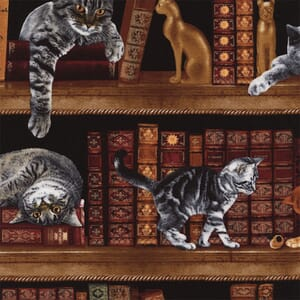 Timeless Treasures Library Cats Fabric