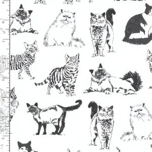 Sketched Realistic Cats Fabric