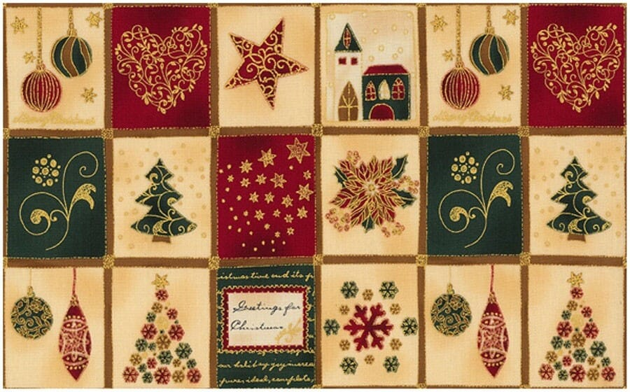 Christmas Fabric Squares Red Green and Beige 60cm Piece