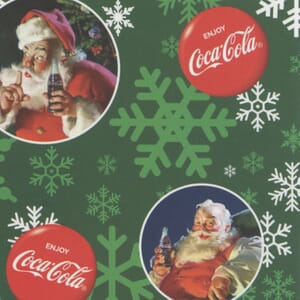 Small Image of Coca-Cola Santa in Circles Fleece Green Background