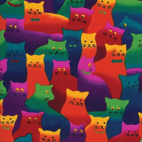 Timeless Treasures Patchwork Fabric Crazy Cats Bright Multi
