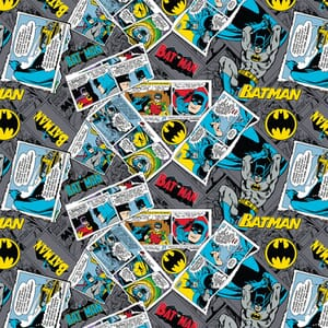 DC Batman Collage Grey Fabric