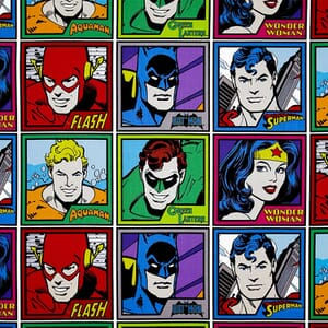 DC Comics Meet The Heroes Quilting Fabric