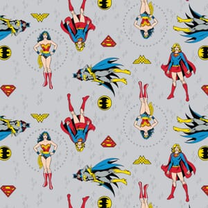 DC Comics Girl Power Grey Fabric