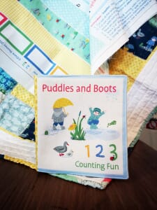 Puddles and Boots 123 Counting Cloth Book Panel by Diane Rooney