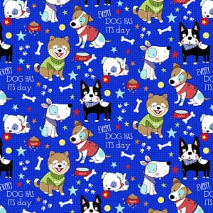 3 Wishes Fabric Dog Days Dogs Blue