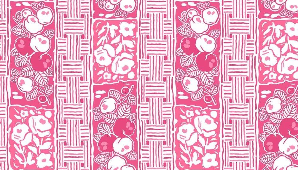 Downton Abbey 2 Fabric Lady Rose Arbor Rose Red Pink