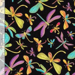 Timeless Treasures Fabric Dragonflies With Gold Metallic