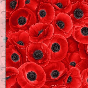 Timeless Treasures Fabric Packed Poppies Large Red