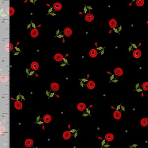 Timeless Treasures Fabric Small Poppies Black