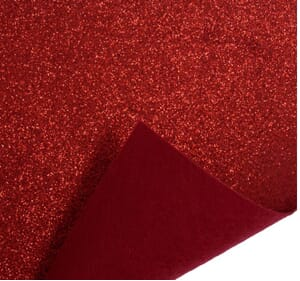 Small Image of Glitter Felt Fabric Sheet Red 23cm x 30cm