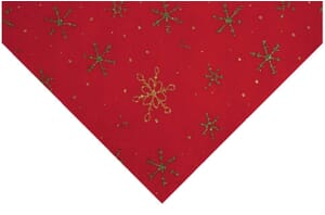 Small Image of Glitter Snowflake Felt Red With Gold And Green 23cm x 30cm