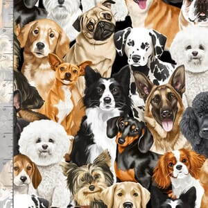 Realistic Dogs Assorted Breeds Fabric Black