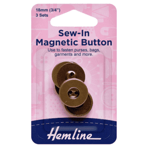 Button Magnetic Sew-In 18mm Brass 3 Sets