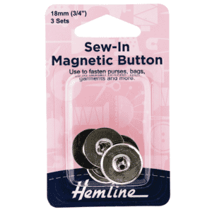 Button Magnetic Sew-In 18mm Nickel 3 Sets