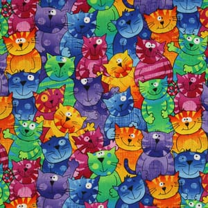 Small Image of Timeless Treasures Patchwork Fabric Crazy Cats Bright Multi