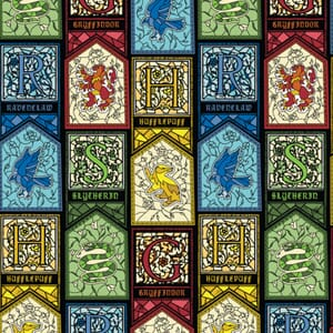 Harry Potter Fabric Stained Glass Crests