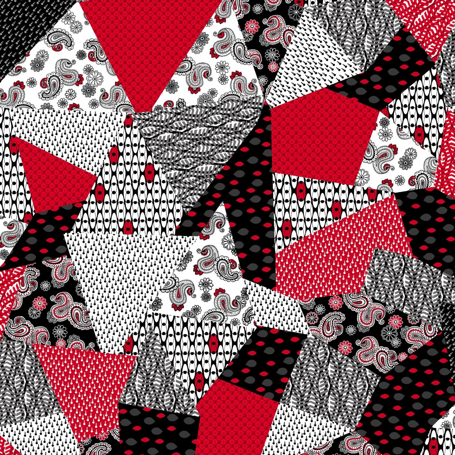 Henry Glass Patchwork Fabric Red Black Patchwork Triangles