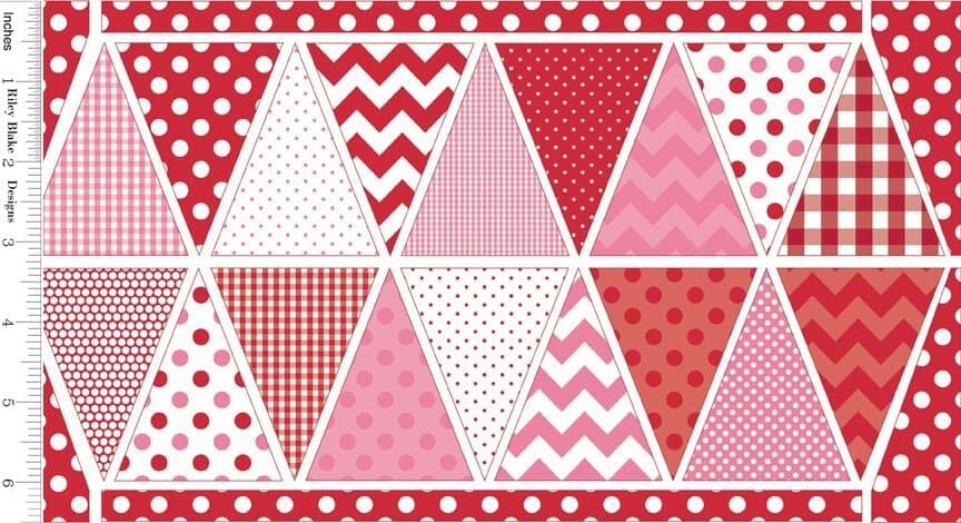 Holiday Banners / Bunting Fabric Panel Red