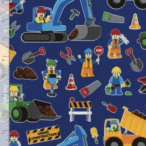 Timeless Treasures Fabric Lego Style Construction Workers