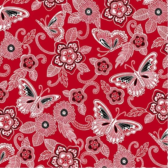 Henry Glass Patchwork Fabric Red Large Butterflies and Flowers
