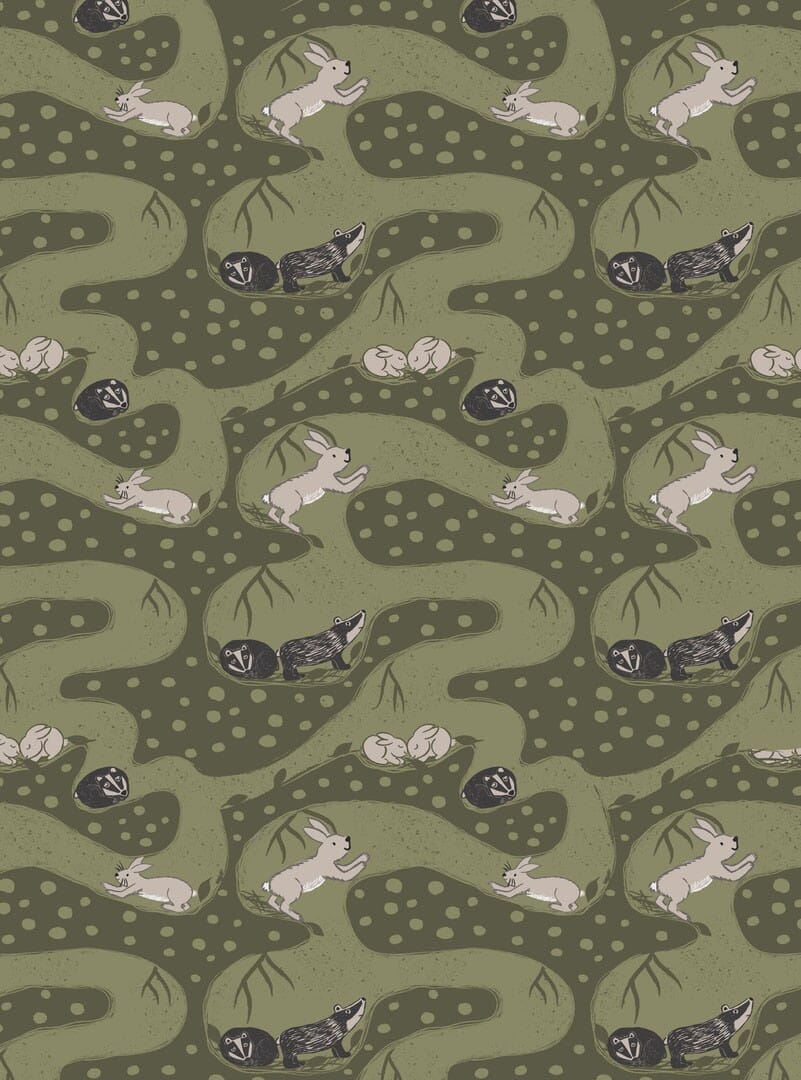 Lewis and Irene Fabric Enchanted Forest Bunny Tunnels on Forest Green