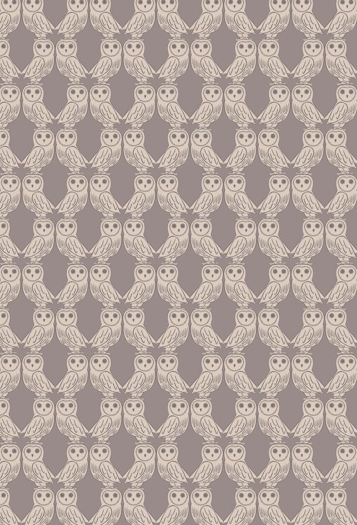 Lewis and Irene Fabric Enchanted Forest Owls on Latte