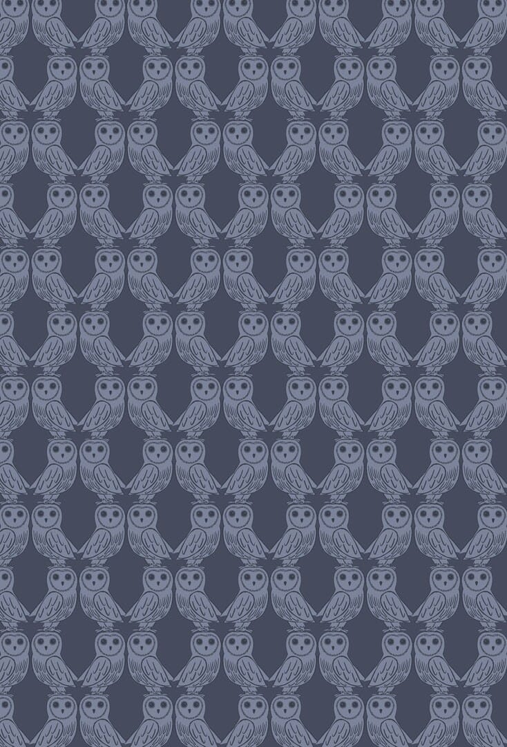 Lewis and Irene Fabric Enchanted Forest Owls on Midnight Blue