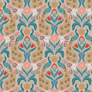 Small image ofLewis And Irene Wintertide Peacock On Linen Copper Metallic A582-2