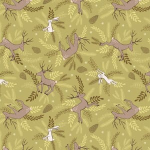 Lewis Irene New Forest Winter Forest Green Deer and Hare Fabric