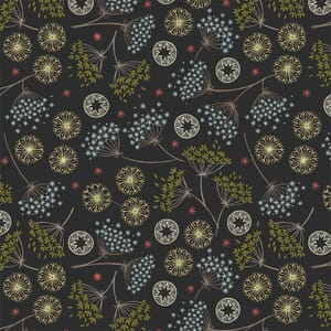 Lewis Irene New Forest Winter Black Floral Fabric