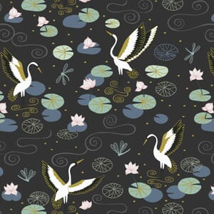 Lewis and Irene Jardin de Lis Heron Lake Black Gold Metallic
