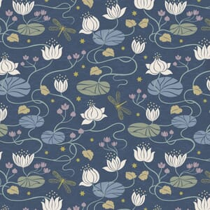 Lewis and Irene Jardin de Lis Lillies Dark Blue gold Metallic