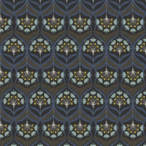 Lewis and Irene Jardin de Lis Star Floral Black Gold Metallic