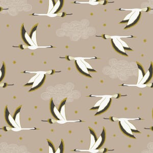 Lewis and Irene Jardin de Lis Flying Heron Beige Gold Metallic