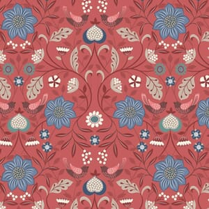 Lewis and Irene Michaelmas Little Bird Floral Soft Red