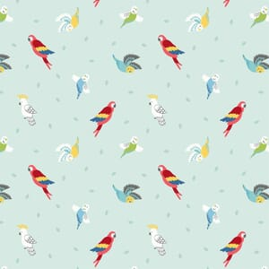 Lewis Irene Small Things Pets Birds On Light Peppermint Fabric