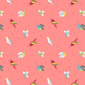 Lewis Irene Small Things Pets Birds On Tropical Coral Fabric
